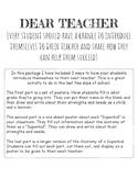 """""""Dear Teacher"""": Student Letter to Their Next Grade Level Teacher"""