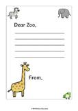 """""""Dear Zoo"""" Letter Writing Worksheet"""
