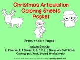 Christmas Articulation Coloring Worksheets Packet No Prep! Print and Go!