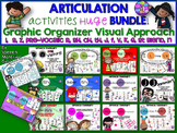 Speech Articulation graphic organizer bundle s,z,r,sh,ch,th,j,v,f,l,k,g,st, n