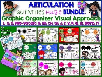 Articulation BUNDLE graphic organization s,z,r,sh,ch,th,j,