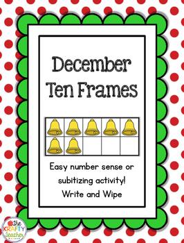*December* Christmas Ten Frames, Subsitizing, Kindergarten