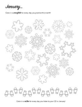 January - Winter Snowflakes Piano Practice Chart