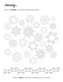 January - Winter Snowflakes Piano Practice Chart