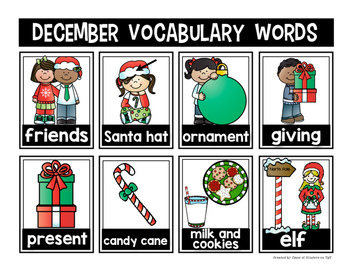 Mini Word Wall {December} for the Writing Center - Interactive!
