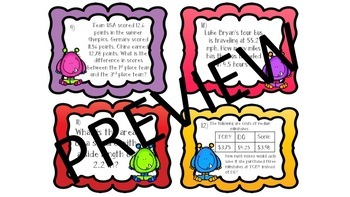 **Decimal Operations Task Cards**  Recording and Answer Document** 6.NS.B.3