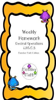 **Decimal Operations Weekly Homework Sheet** 6.NS.B.3
