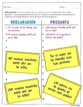 """¿Declaración o Pregunta?"" – Leveled Spanish Punctuation & Reading/Writing Game"