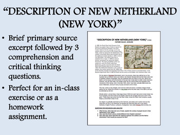 """Description of New Netherland"" - Colonial America - US History/APUSH"