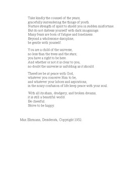 """Desiderata""/ Words of Wisdom/ End-of-Year/Graduation Activity"