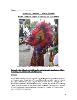 Carnival in Antigua – Vocabulary List