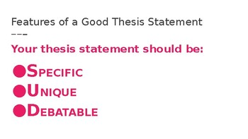 """""""Developing a Thesis Statement"""" Presentation"""