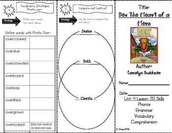 """""""Dex Heart of a Hero"""" Skills Trifold aligned to Journeys Lesson 20"""