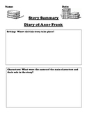 """""""Diary of Anne Frank"""" Book by Anne Frank Summary Worksheet"""