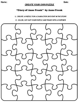 """""""Diary of Anne Frank"""" by Anne Frank Create your Own Puzzle ..."""