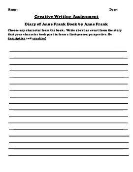 """""""Diary of Anne Frank"""" by Anne Frank Creative Writing"""