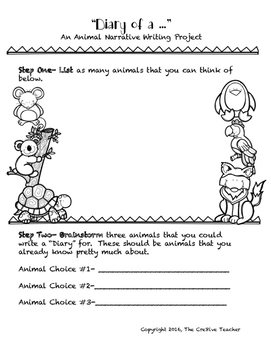 """""""Diary of a..."""" Ready to Go Writing Activity"""