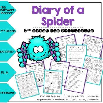 Diary of a Spider NO PREP ELA Printables for 2nd Grade