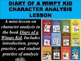 """""""Diary of a Wimpy Kid"""" Character Analysis Lesson"""
