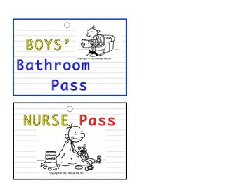 """Diary of a Wimpy Kid"" Inspired V.I.P. Hall & Bathroom Passes"
