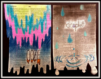 'Dictionary Duet' Chalk Pastel Warm-Up, Lesson, Vocab and Example Work