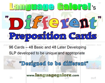 """Different"" Preposition Practice Cards - Set of 96"