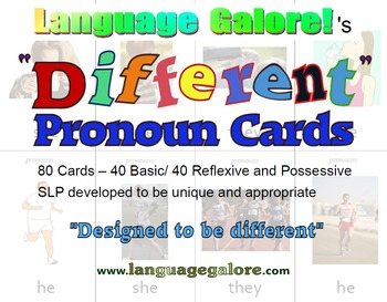 """Different"" Pronoun Practice Cards - Set of 80"