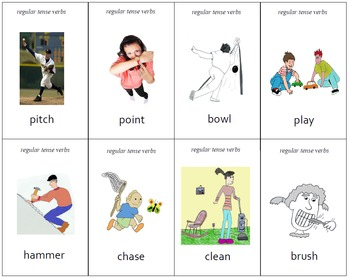 """Different"" Regular Tense Verbs Practice Cards"