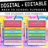Digital Editable Back to School Student and Parent Flip Books