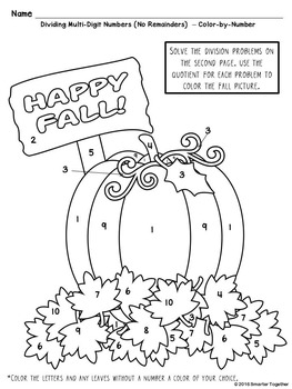 Multi-Digit Division Color by Number - Fall Theme by ...
