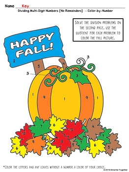 Multi-Digit Division Color by Number - Fall Theme