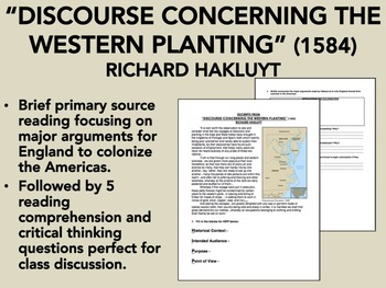 """Discourse Concerning the Western Planting"" - Richard Hakluyt - USH/APUSH"