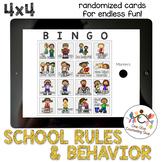 *Distance Learning* School Rules & Behavior Bingo (4x4)