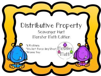 **Distributive Property Scavenger Hunt w/ Student Recording Sheet & Answer Key**
