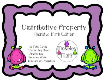 **Distributive Property Task Cards with Recording Sheet an