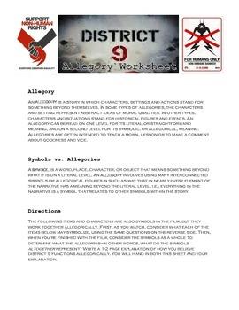 """District 9"" Allegory Worksheet"