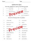 """""""Dividing Words Into Syllables Quiz"""" - 10  # Syllable + 20 Divide Into Syllables"""