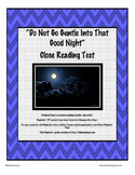 """""""Do Not Go Gentle Into That Good Night"""" Close Reading Test"""
