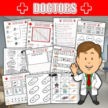 'Doctors' Worksheet Set / Activity Packet + flashcards