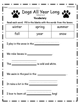 """""""Dogs All Year Long"""" Guided Reading Program Work"""