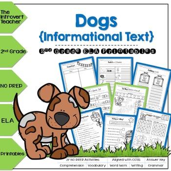Dogs NO PREP ELA Printables for 2nd Grade