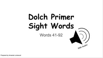 Dolch Primer Google Digital Flashcards with AUDIO