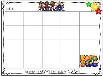 Individual Behavior Chart- Rock Star