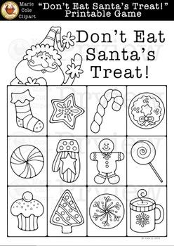 """Don't Eat Santa's Treat!"" Printable Game [Don't Eat Pete] Marie Cole Clipart"