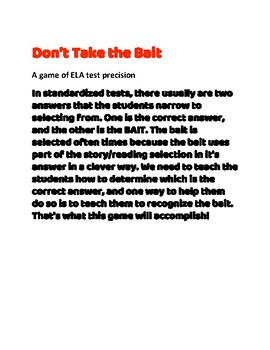"""""""Don't Take the Bait,"""" GAME- ACE standardized tests, ELA. STAAR, Core Curriculum"""