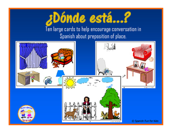¿Dónde está? Cards for Practicing Preposition of Place in Spanish