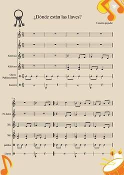 ¿Dónde están las llaves? Spanish popular song. Instrumental Arrangement