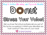 """Donut Stress Your Voice"" Better Hearing and Speech Month Sign"