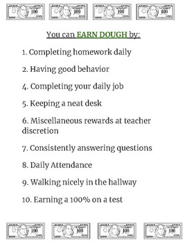 """""""Dough"""" Classroom Economy System"""