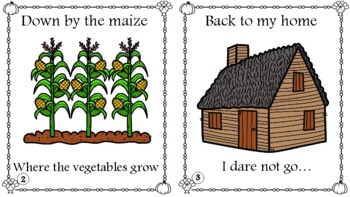 """FREEBIE """"Down by the Maize"""" Thanksgiving rhyming book for Phonological Awareness"""